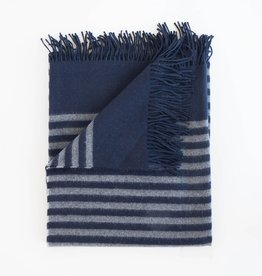 Evangeline Linens Alpaca Throw Stipe - Midnight Blue