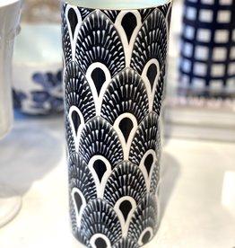 Jill Rosenwald #10 Cylinder Vase - West Palm/Jet Black