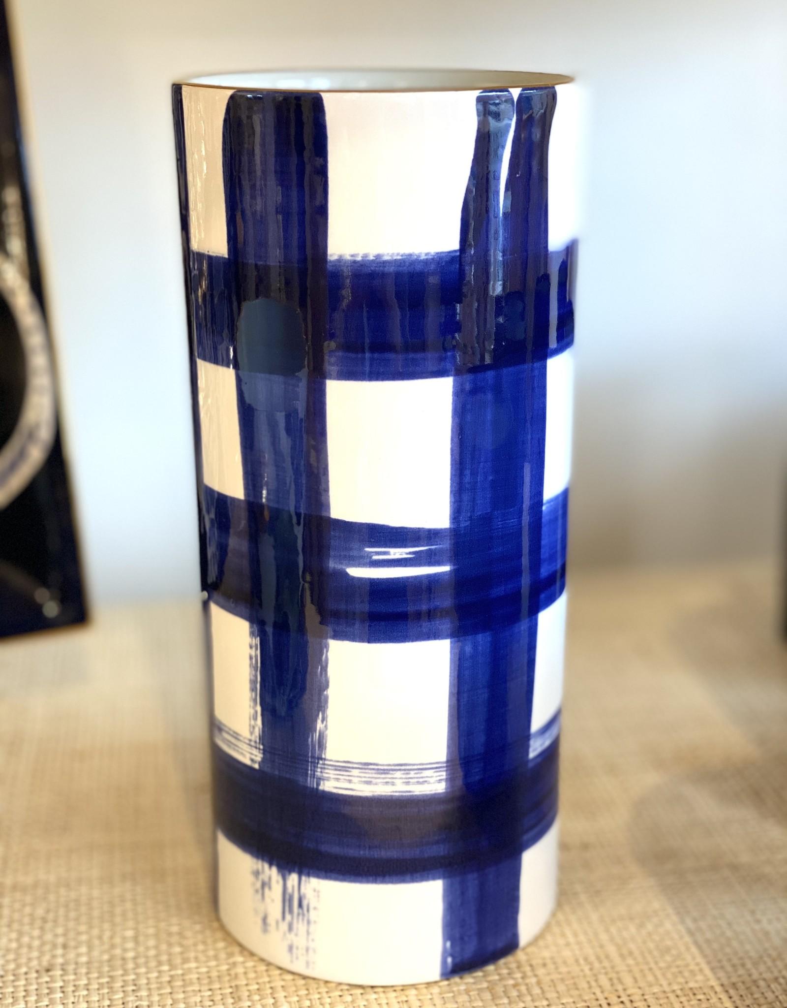 Jill Rosenwald #8 Cylinder Vase - Brooks Plaid/Delft
