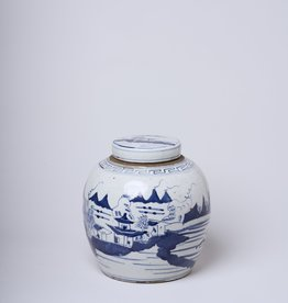 Cobalt Guild River Landscape Lidded Jar