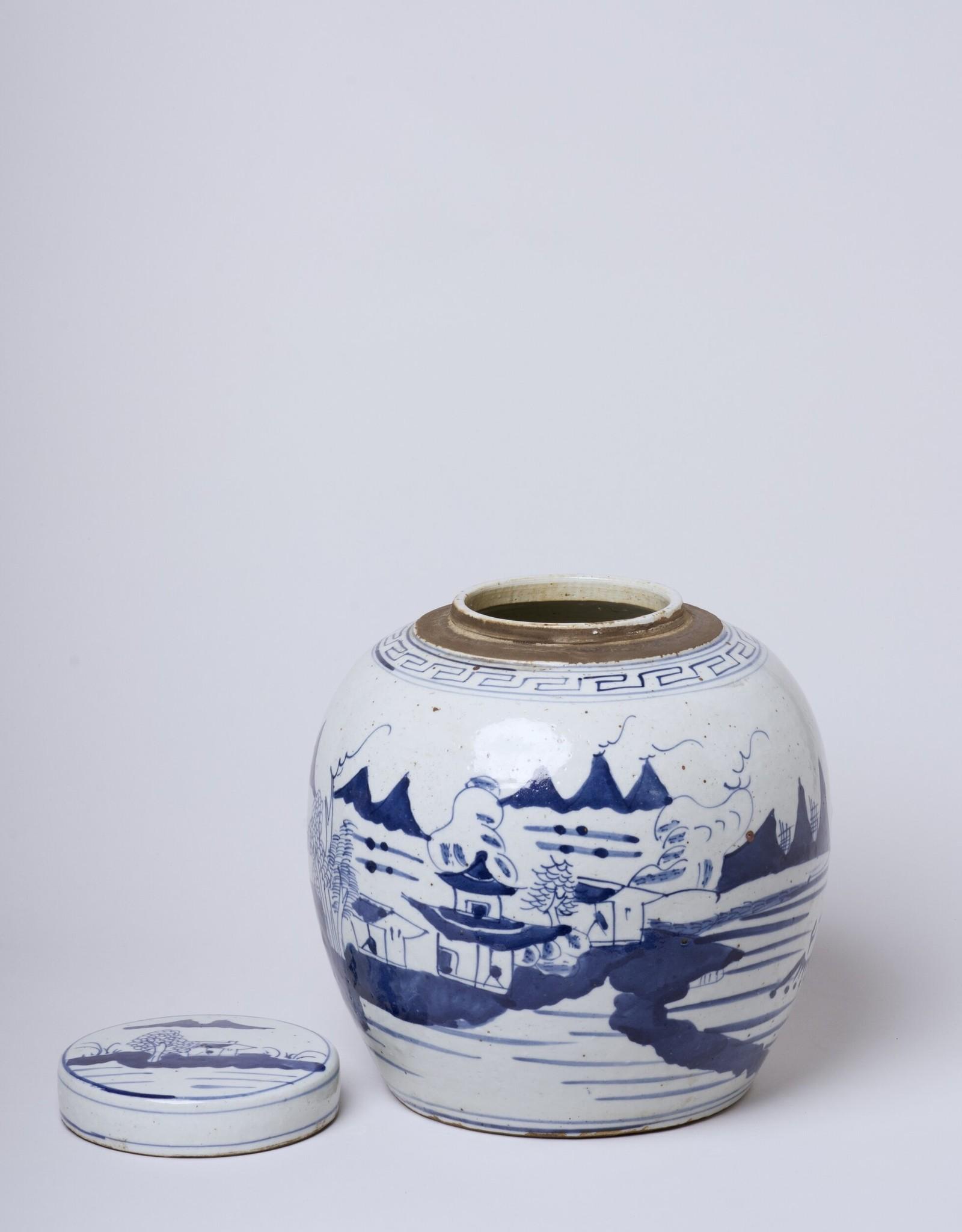 Cobalt Guild River Landscape Lidded Jar