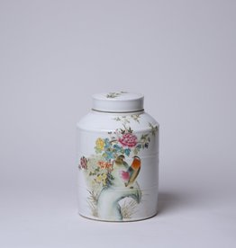 Cobalt Guild Famille Rose Cylindrical Lidded Jar