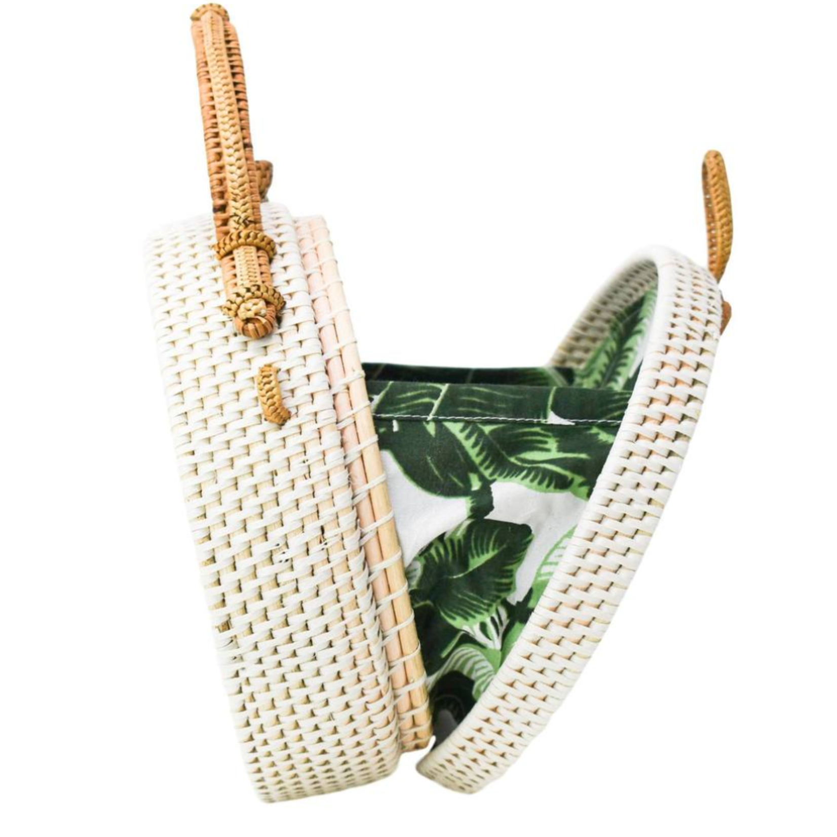 Poppy + Sage White Milly Bag - Palm Leaf