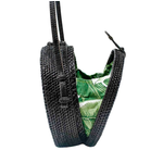 Poppy + Sage Black Milly Bag - Palm Leaf
