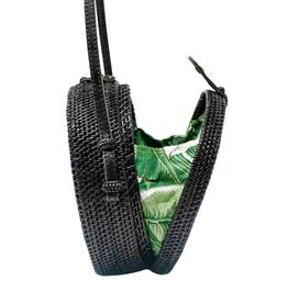 Poppy + Sage Black Milly Bag - Palm Leaf
