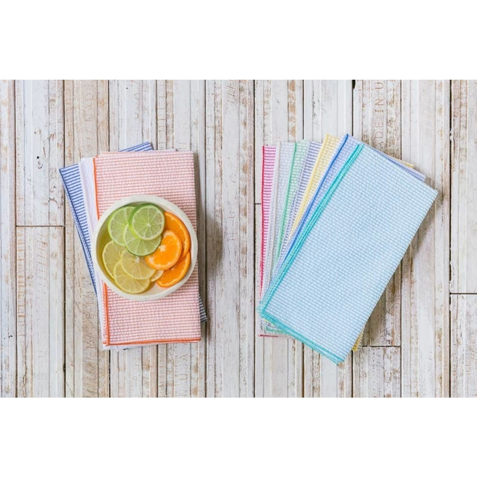 Dot and Army Seersucker Multi-Color Dinner Napkins - Set of 10