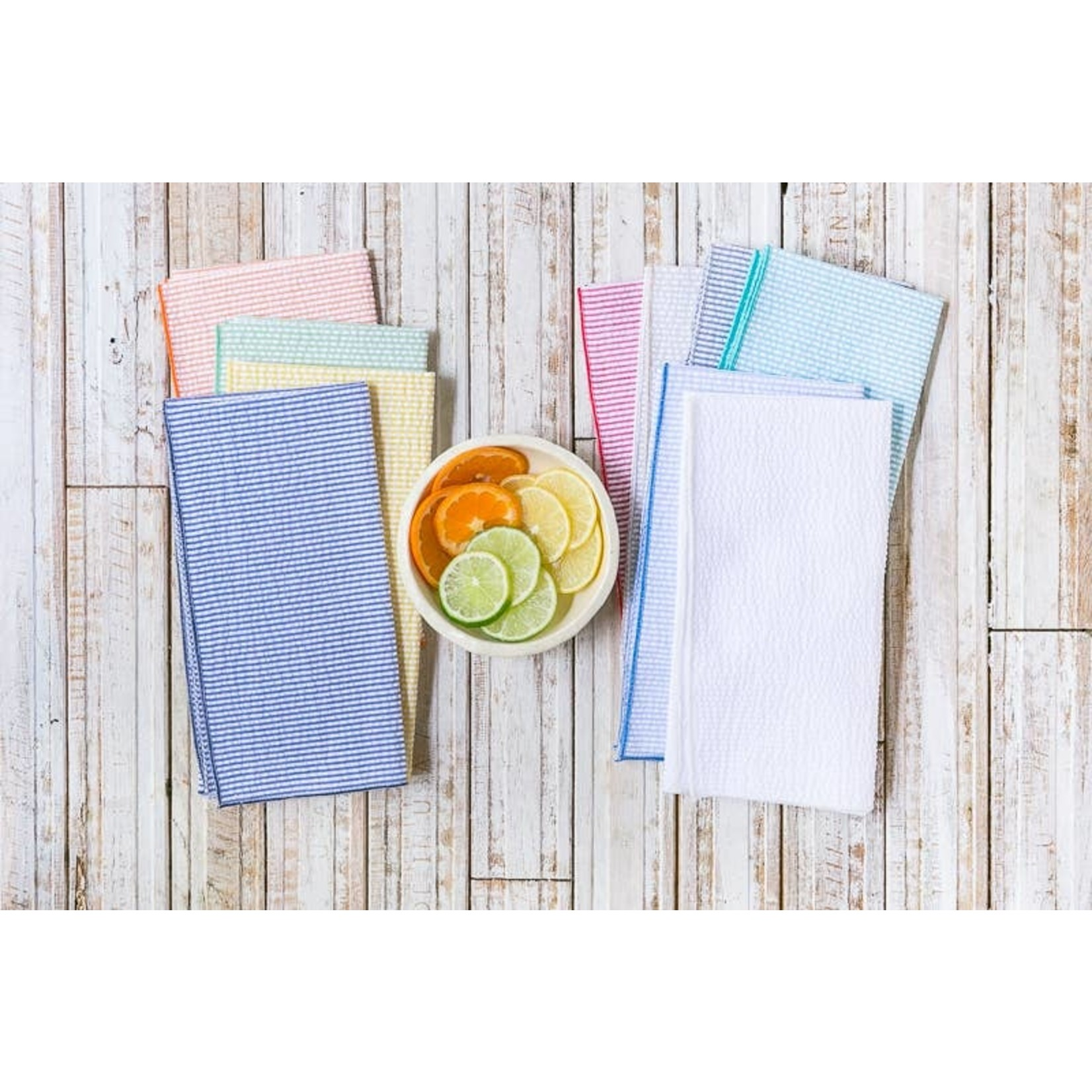 Dot and Army Seersucker Cocktail Napkins - Set of 10