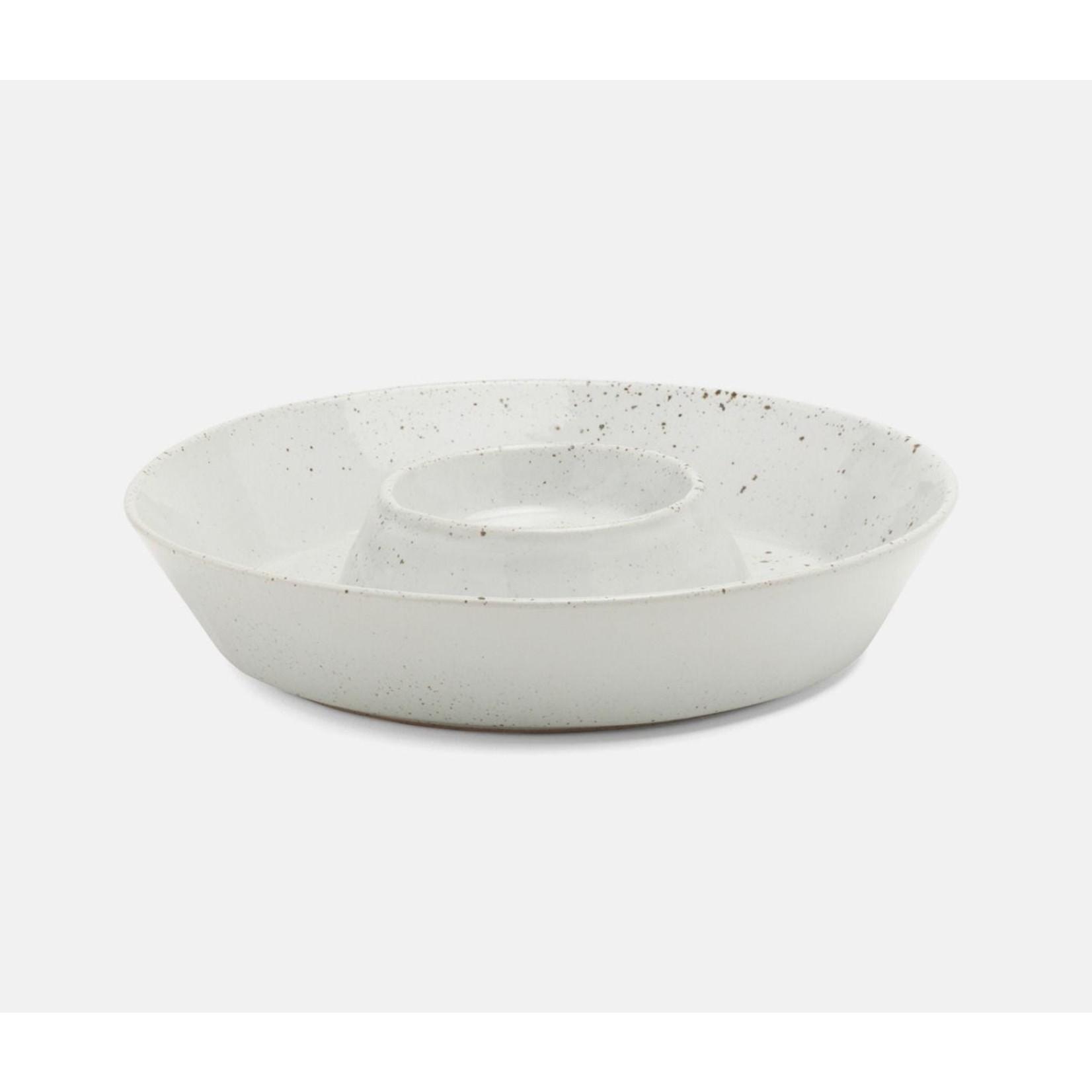 Blue Pheasant Marcus Chip and Dip Bowl -  White Salt Glaze