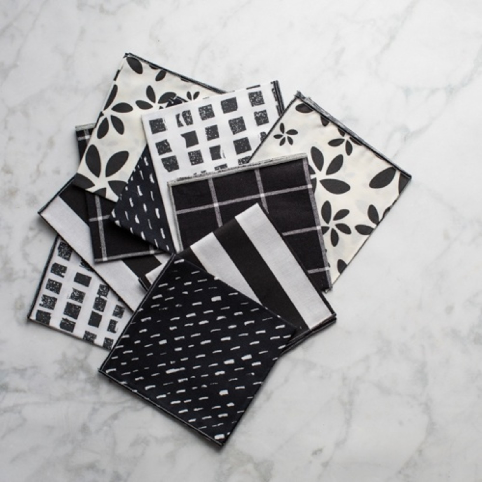 Dot and Army Color Block Cloth Cocktail Napkins - Set of 10