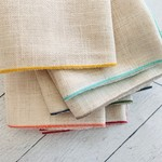 Dot and Army Oatmeal Linen Cloth Napkins with Multi-Colored Edging - Set of 10