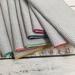 Dot and Army Seersucker Grey w/ Colorful Edges Cocktail Napkins - Set of 8