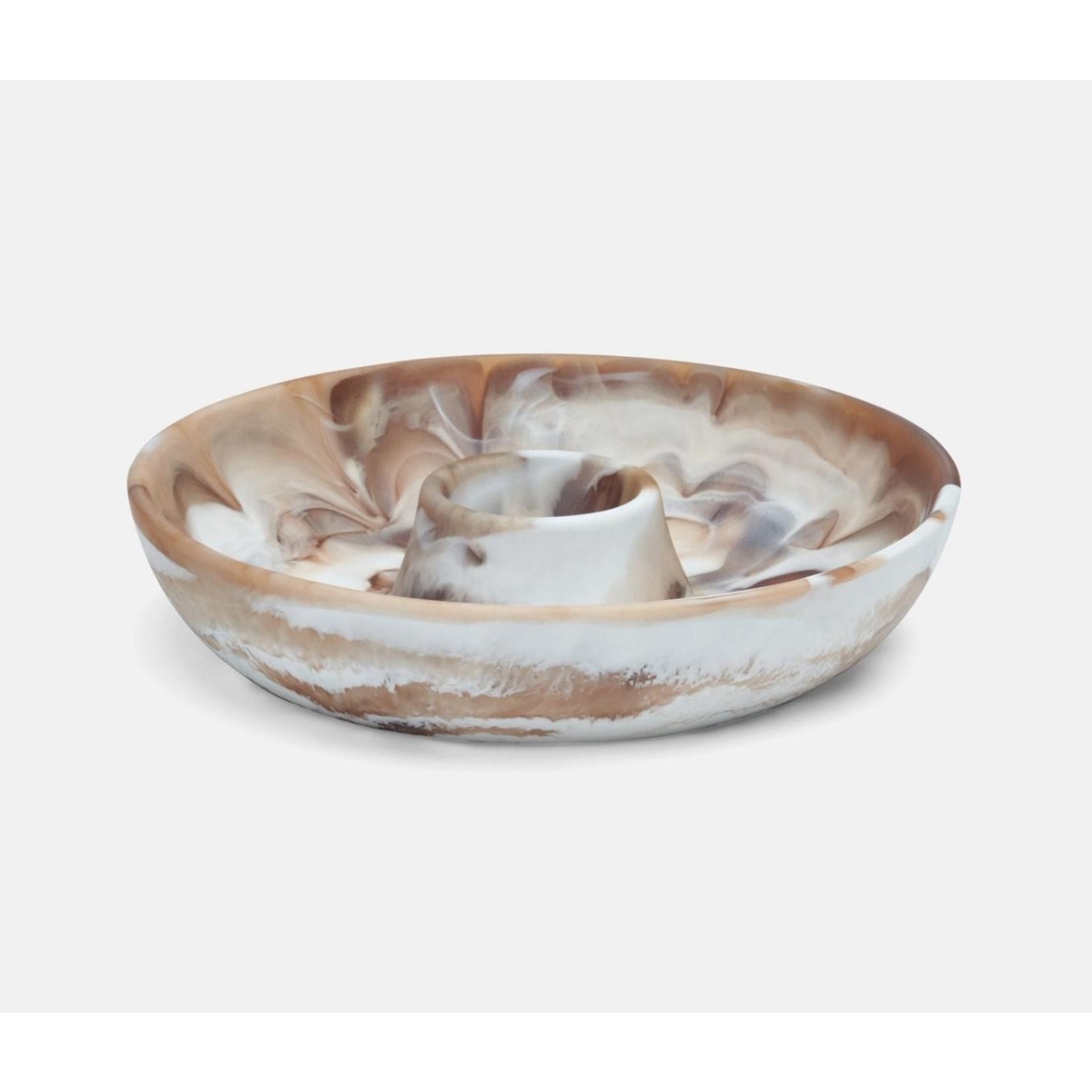 Blue Pheasant Hugo Brown Swirled Chip & Dip Bowl