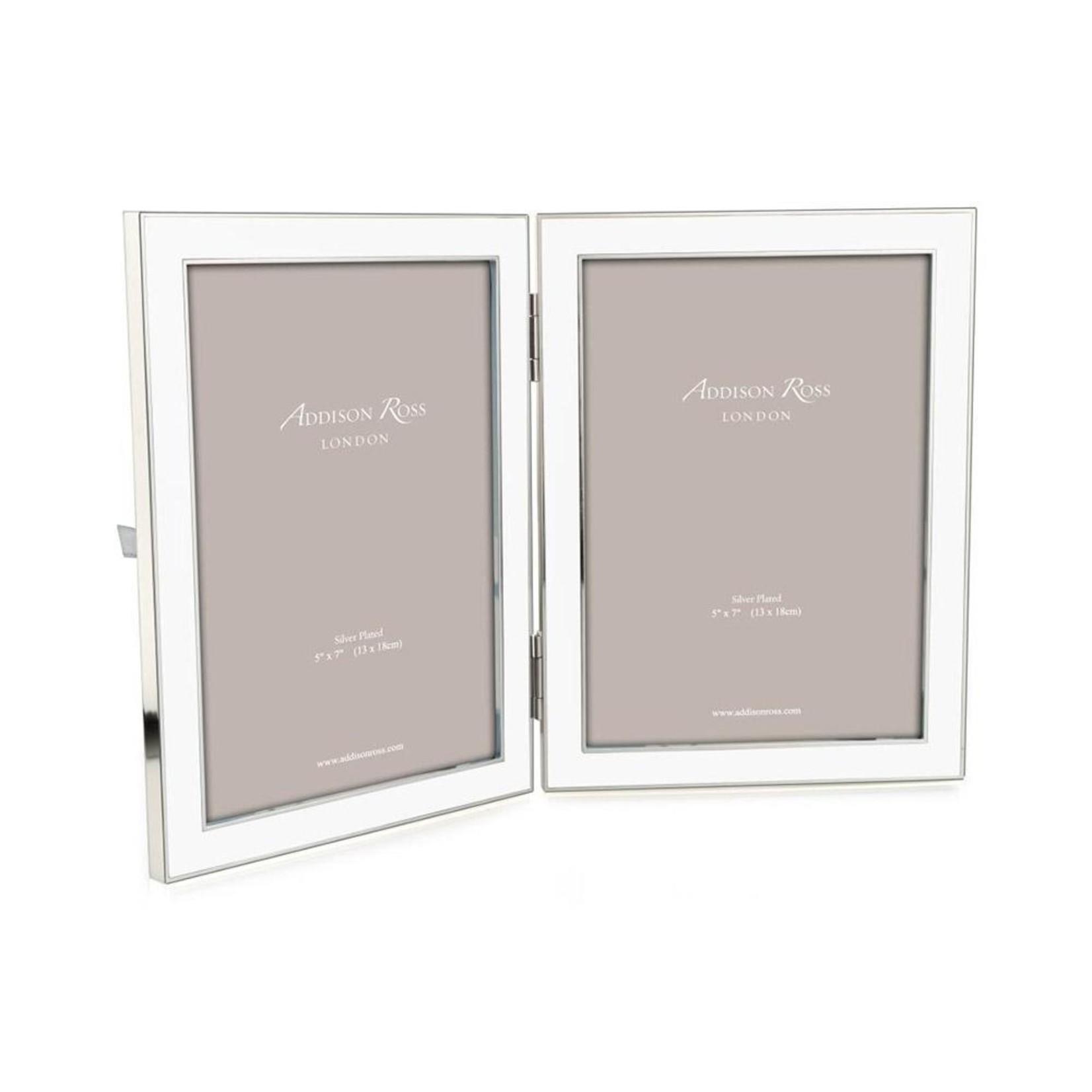 Addison Ross White Enamel & Silver Double Frame - 5x7