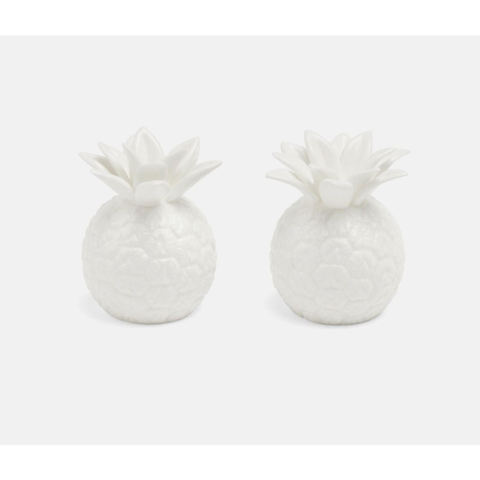 Blue Pheasant Keely White Porcelain Pineapple Salt & Pepper Shakers