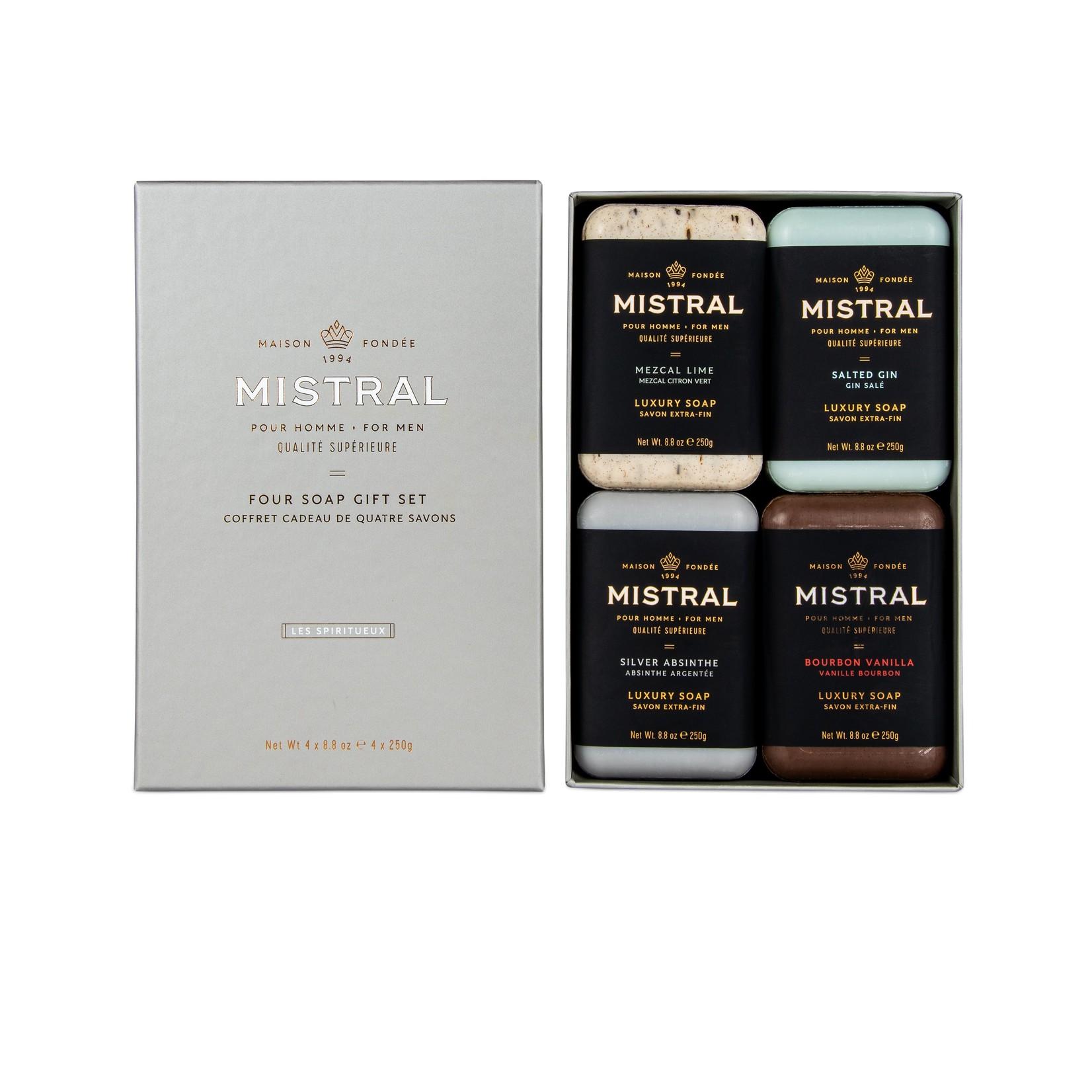 Mistral Men's Bar Soap Gift Box - Woods & Spirits (Set of 4)