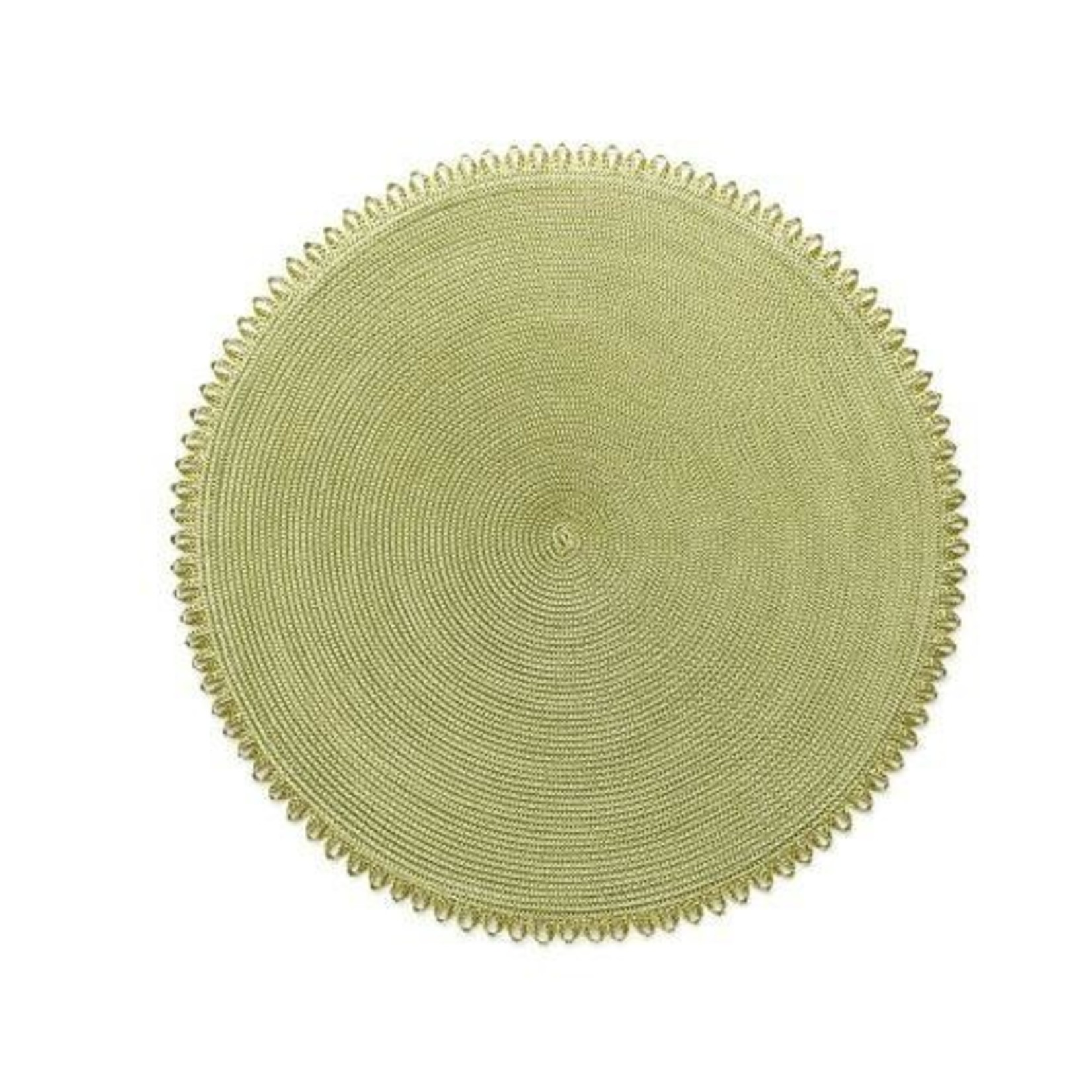 Deborah Rhodes Braided Placemat in Round with Looped Edge (Set of 6)