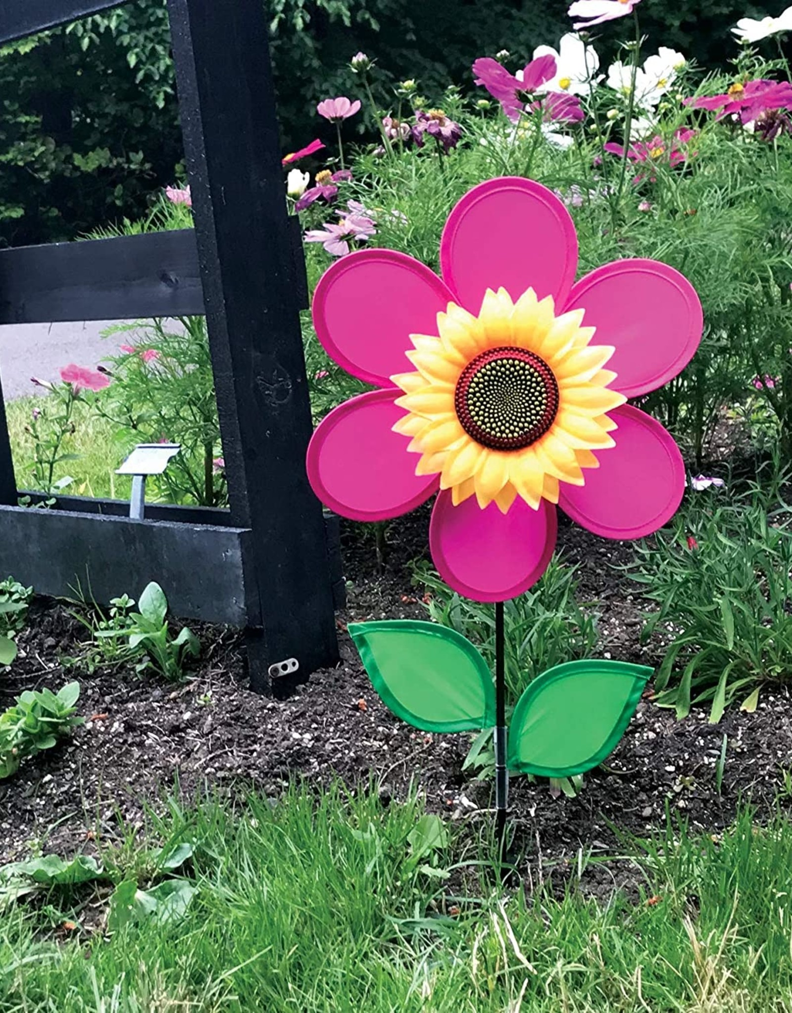 In The Breeze Ground Spinner Sunflower Pink w Leaves