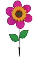 """In The Breeze 12"""" Pink Sunflower w Leaves"""