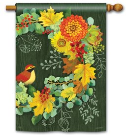 Studio M Fall Wreath House Flag