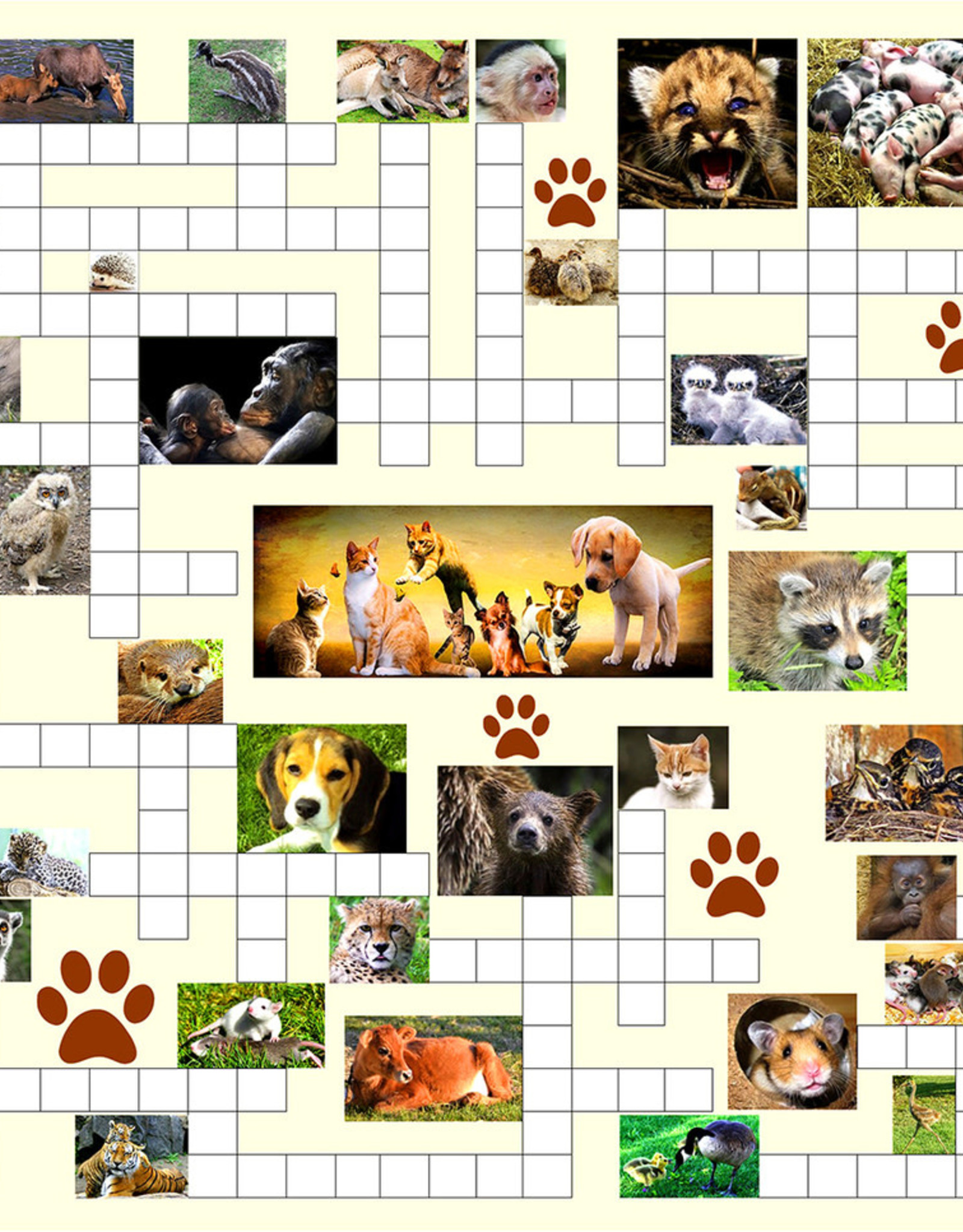 SunsOut 500pc Crossword Combo Baby Animals