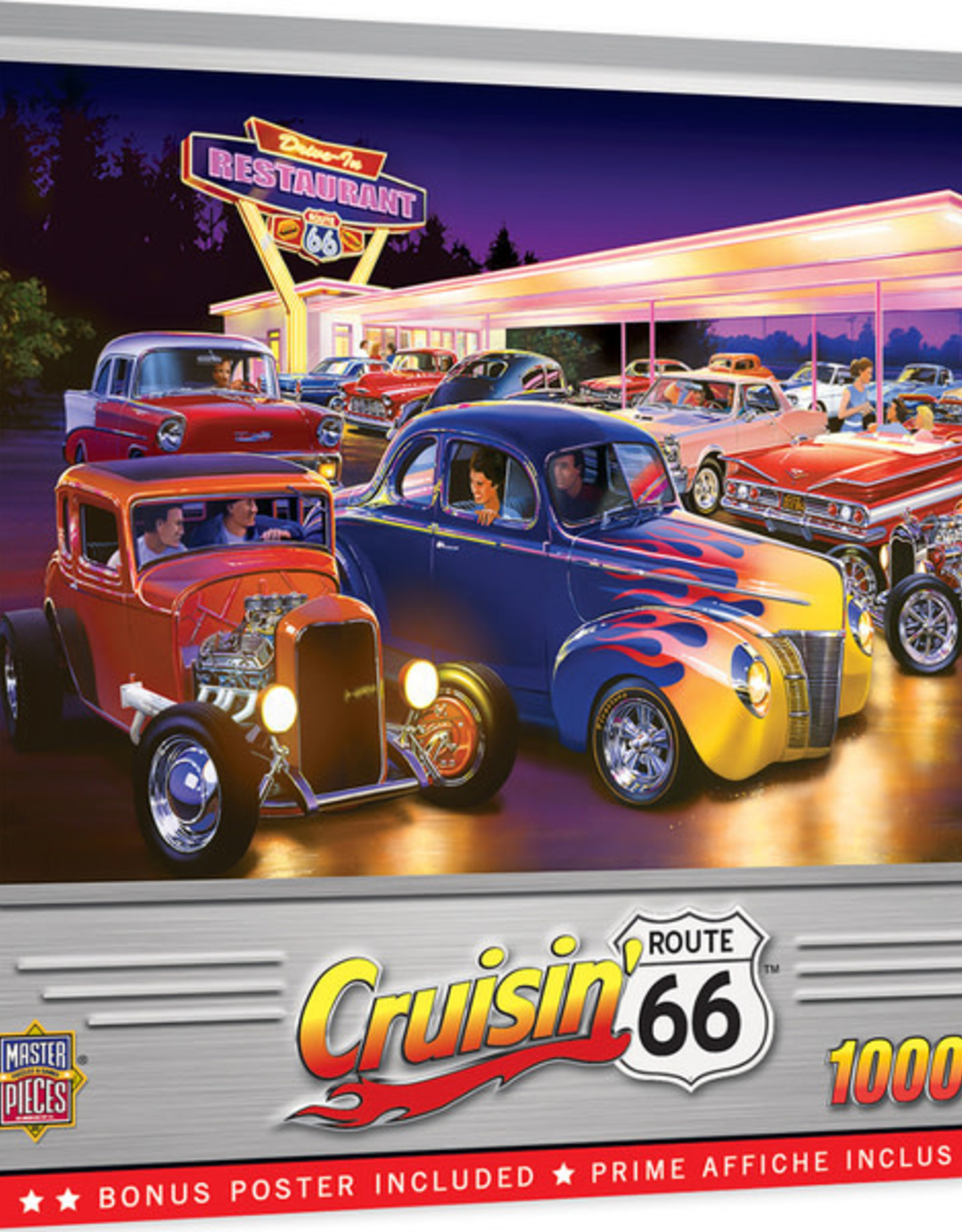 Master Pieces 1000pc Cruisin' Rt66 - Friday Night Hot Rods Puzzle