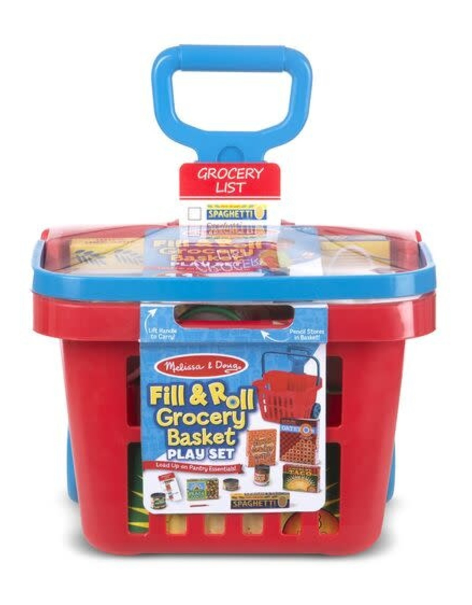 Melissa & Doug MD Rolling Red Grocery Basket