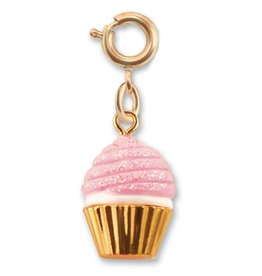 Charm It Charm Gold Pink Glitter Cupcake