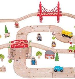 Bigjigs Toys Rural Rail and Road Train Set