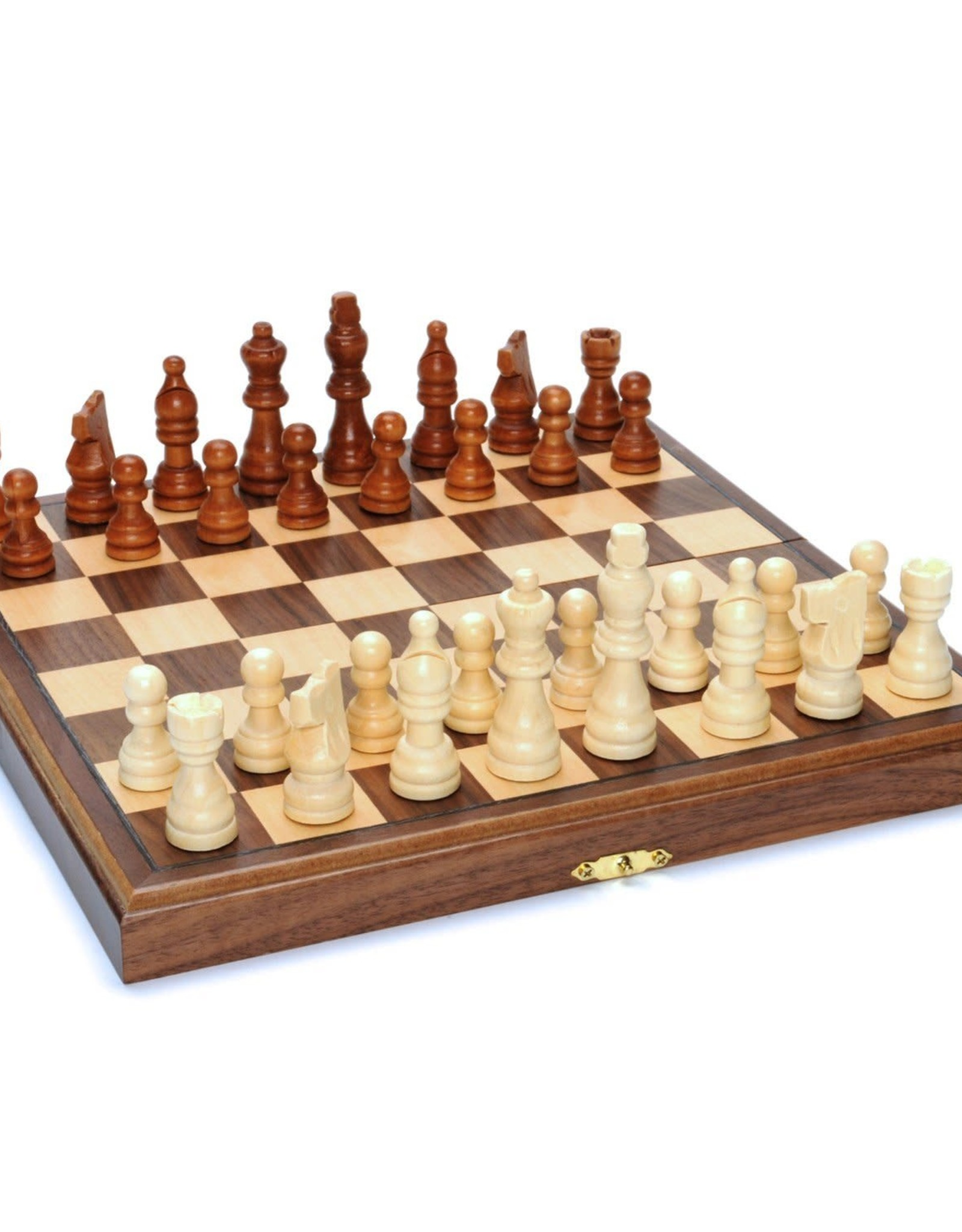 WE Games Chess Set Folding Walnut