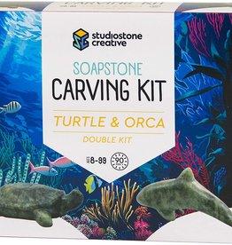 Studiostone Creative Soapstone Carving Kit Duo Turtle/Orca