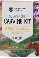 Studiostone Creative Soapstone Carving Kit Duo Bear/Wolf