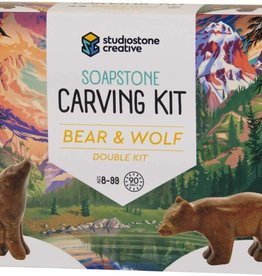 Studiostone Creative Soapstone Carving Kit Duo Bear/Wolf