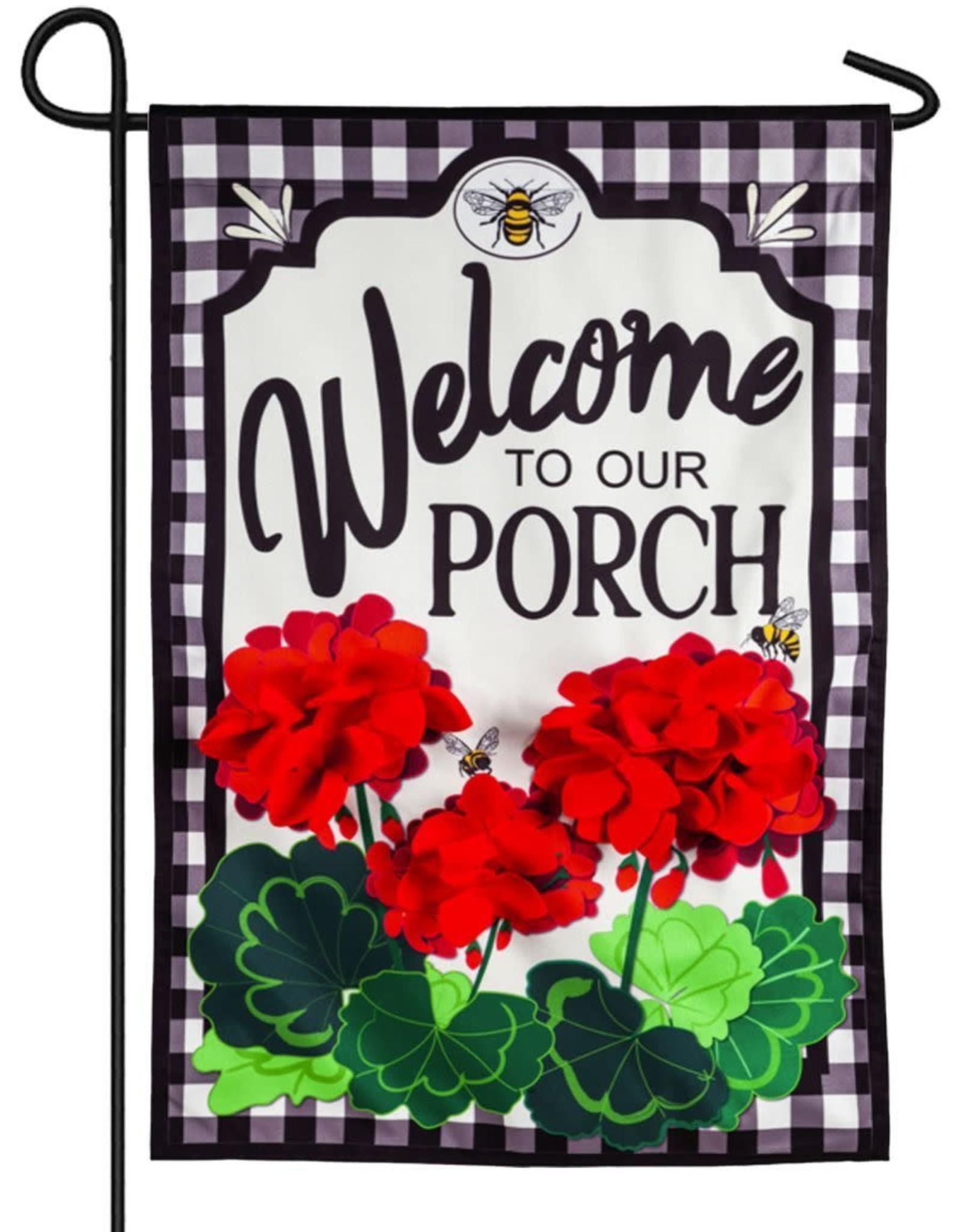 Evergreen EV GF Welcome to Our Porch Geraniums