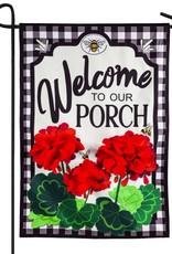 Evergreen EV Welcome to Our Porch Geraniums Linen