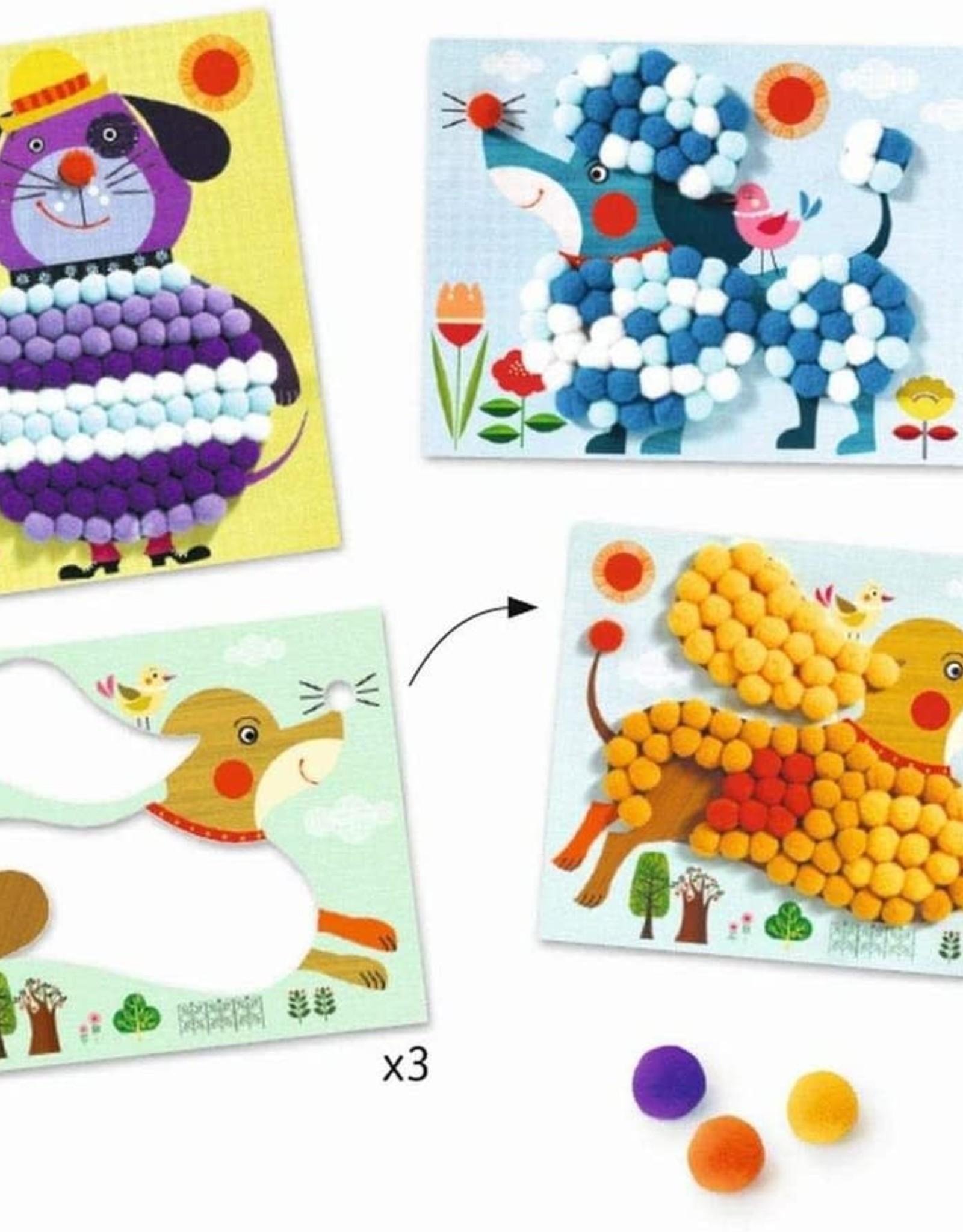 Djeco Craft Kit PomPom Puppies Collage 3+