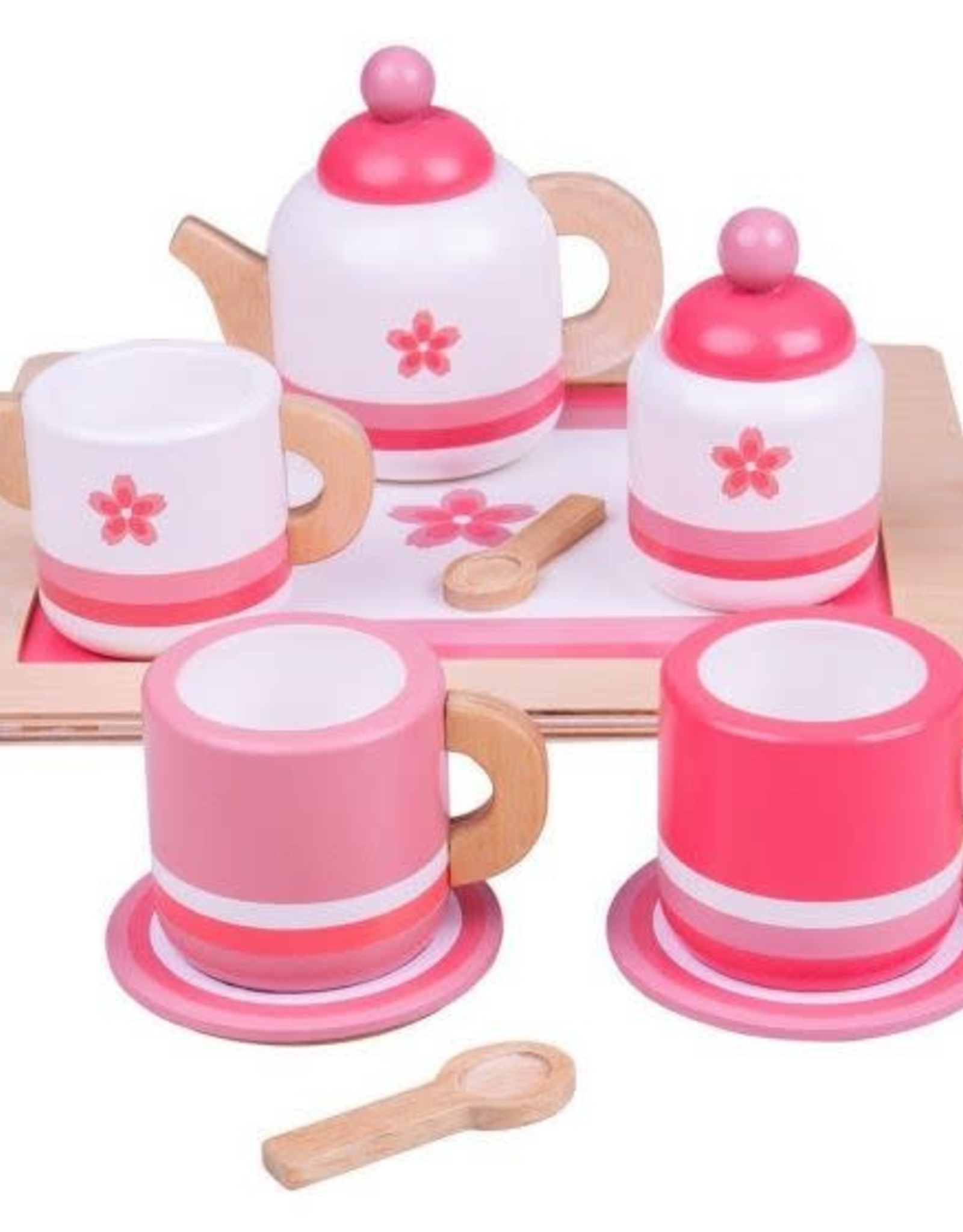 Bigjigs Toys Tea Tray Wooden Pink