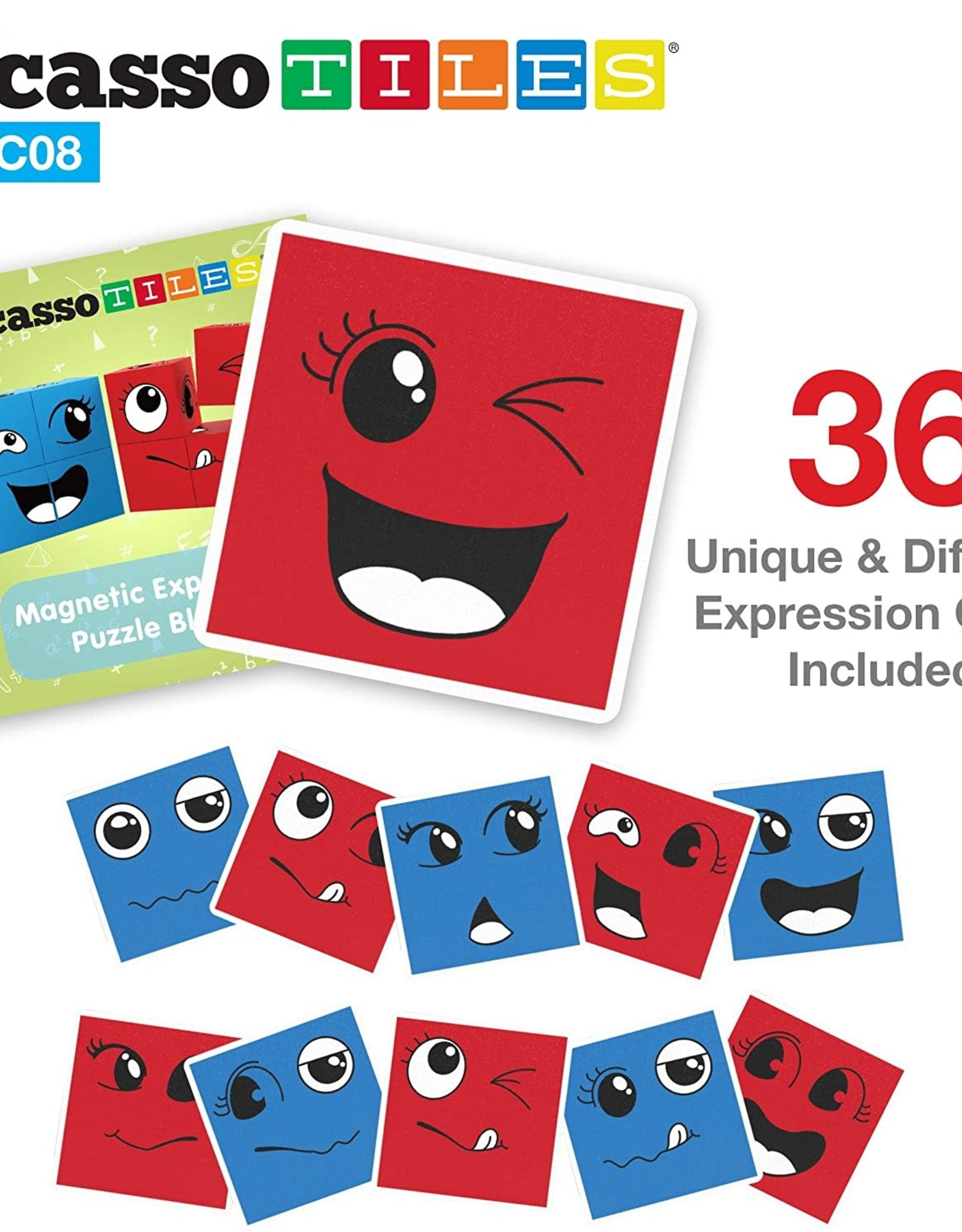 Picasso Tiles 8 Pc Magnetic Cube Emotion Mix & Match