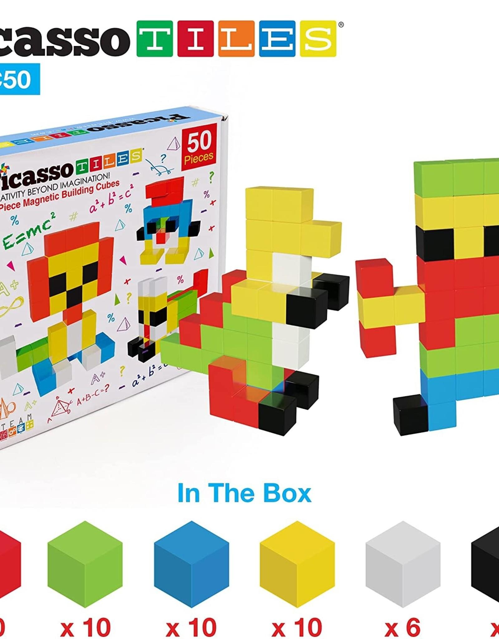 Picasso Tiles 50 Pc Pixel Magnetic Puzzle Cube Set