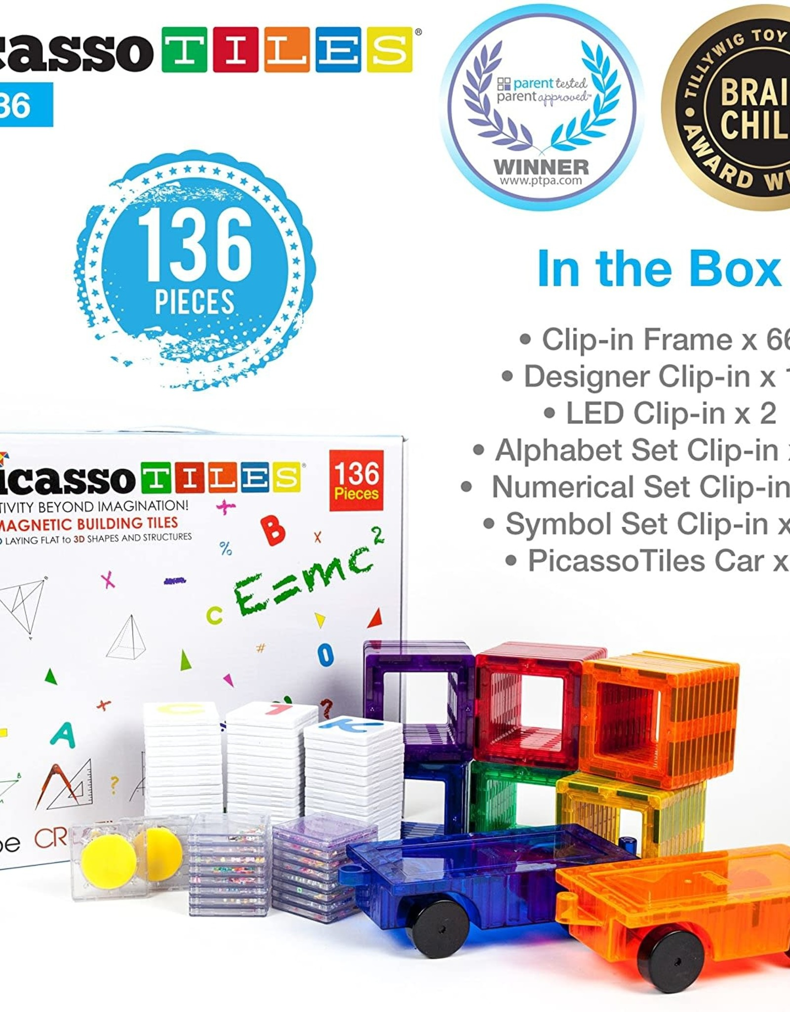 Picasso Tiles 136 Pc Deluxe Clip-In Combo Extension Set
