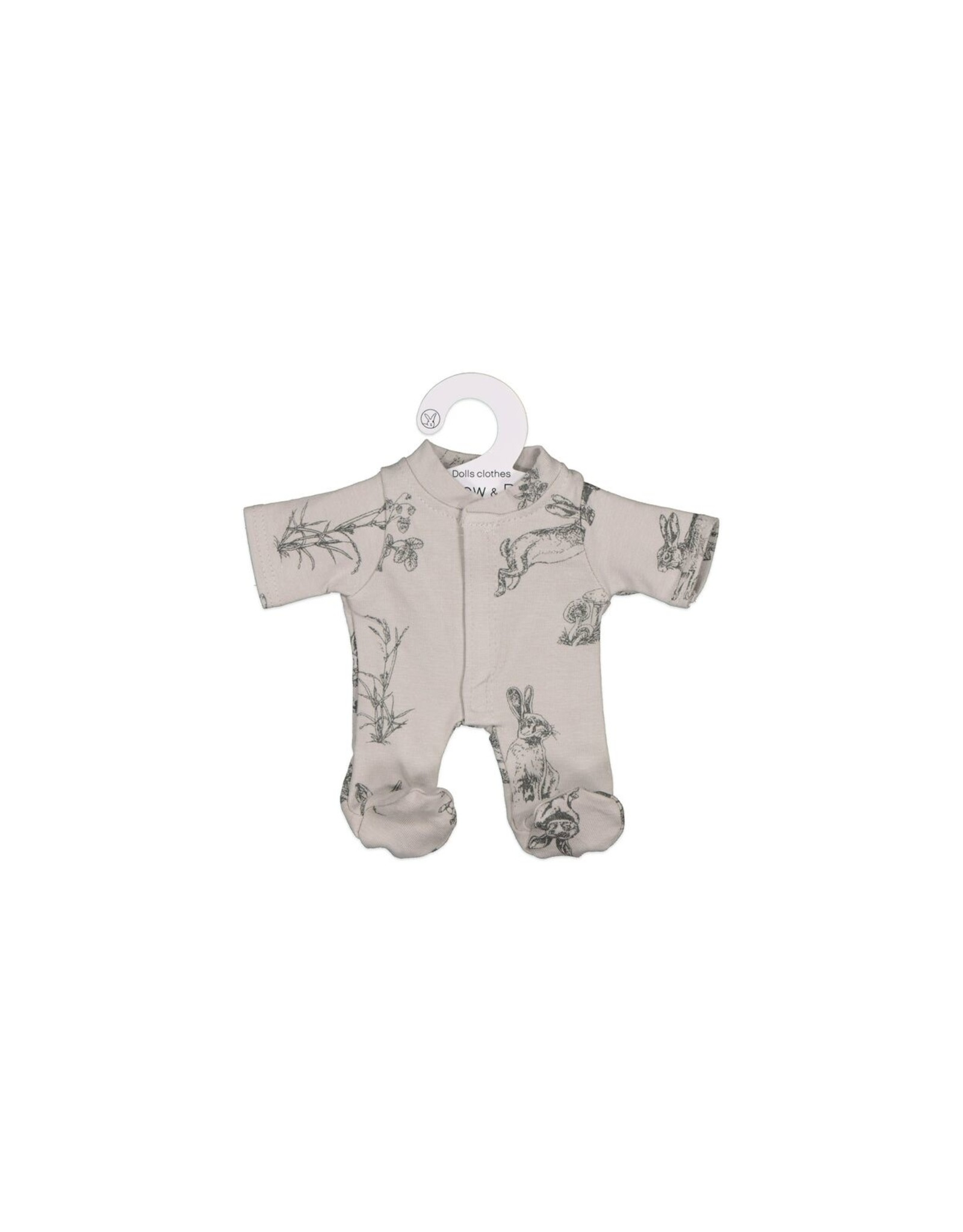 Burrow & Be Burrow & Be - Grey Burrowers Doll Jumpsuit 21cm