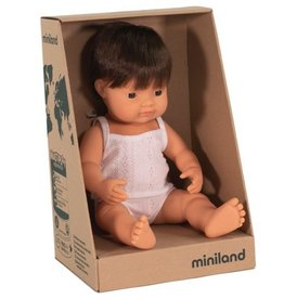 Miniland Miniland Baby Doll 38cm -  Caucasian Brunette Boy