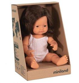 Miniland Miniland Baby Doll 38cm - Caucasian Brunette Girl