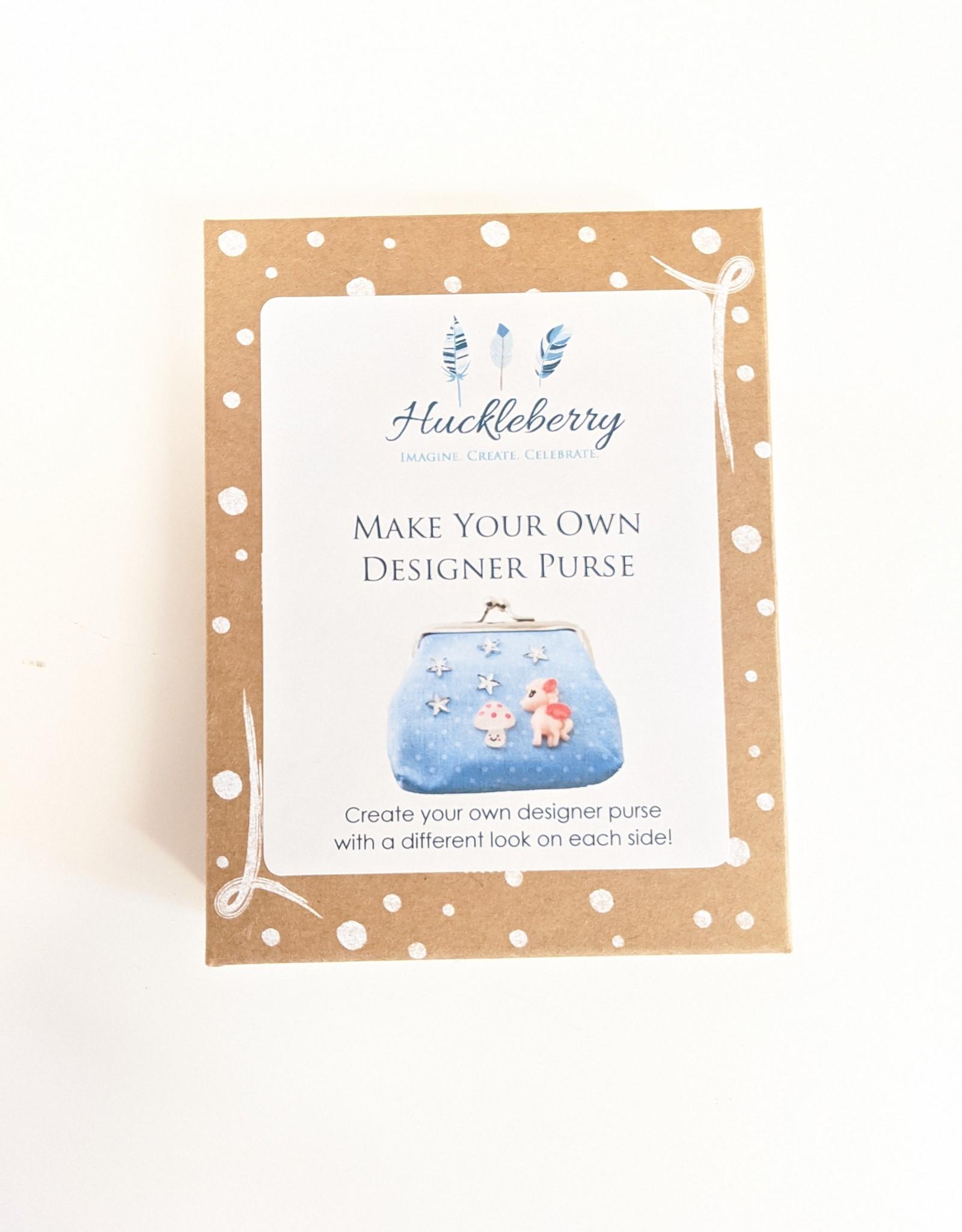 Huckleberry Huckleberry Make Your Own Designer Purse - Unicorns & Rainbow Blue