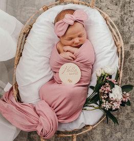 Snuggle Hunny Snuggle Hunny - Jewel Baby Jersey Wrap & Topknot Set
