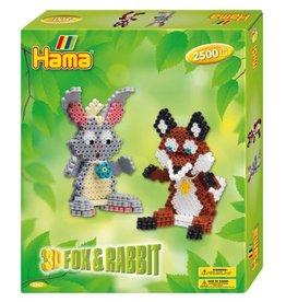 Hama Hama Bead Gift Box - 3D Fox & Rabbit