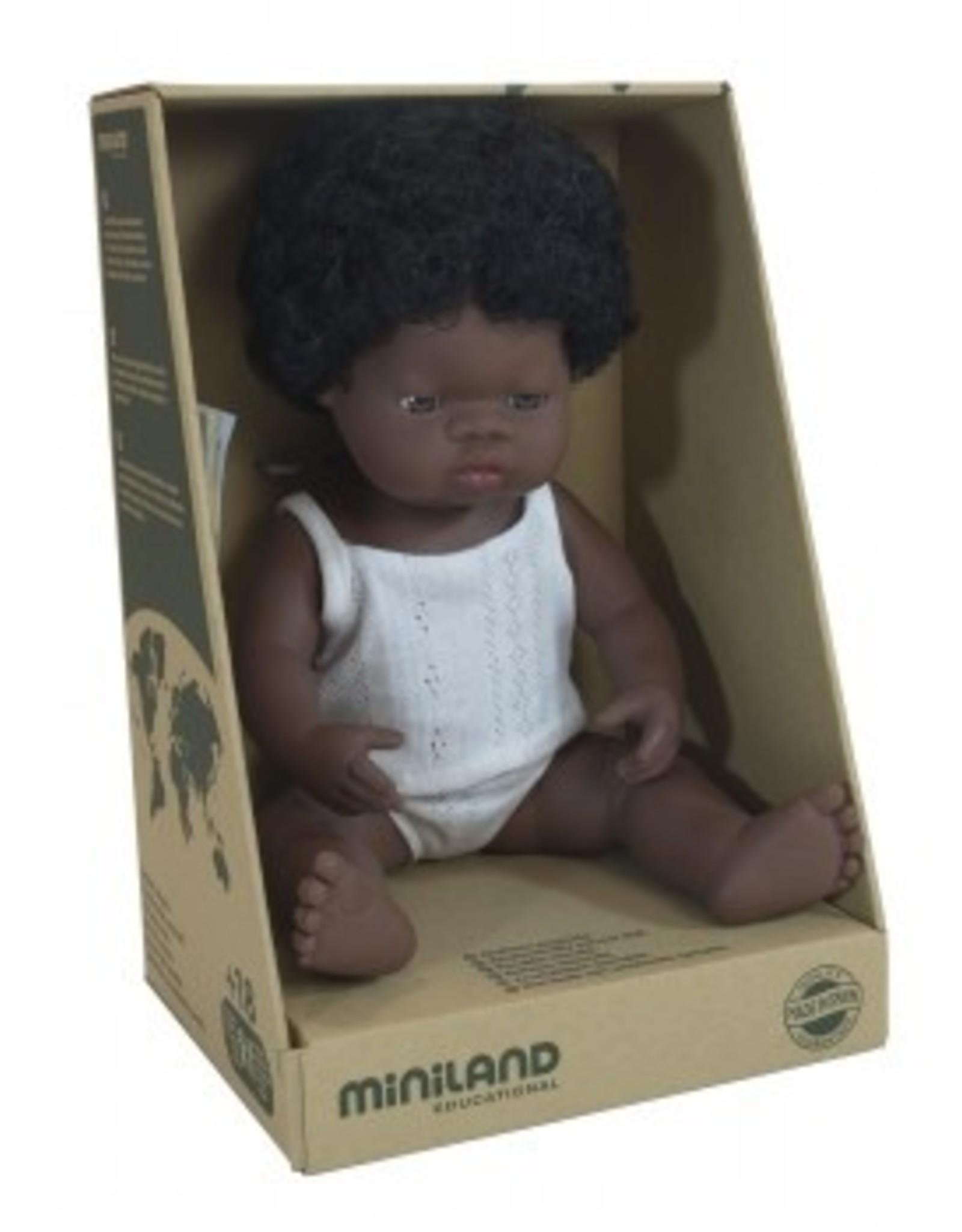 Miniland Miniland Baby Doll Girl - African 38cm