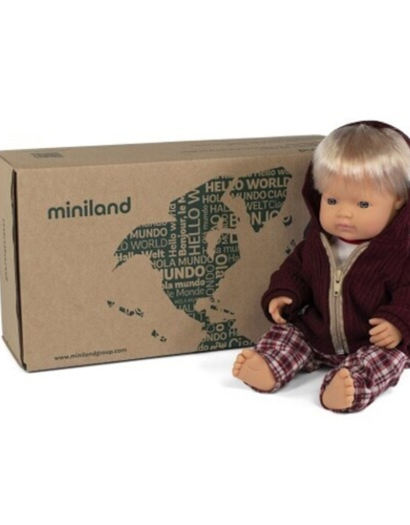 Miniland Miniland Boxed Set - Blond Boy With Winter Outfit
