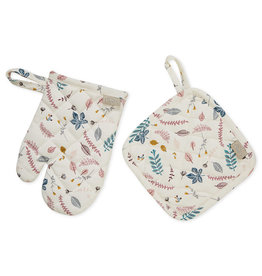 Cam Cam Cam Cam - Kids Oven Glove & Pot Holder Set Pressed Leaves Rose