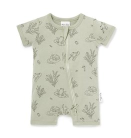 Aster & Oak Aster & Oak Frog Pond Short Zip Romper - Sage