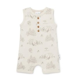 Aster & Oak Aster & Oak - Raccoon Henley Romper Bone